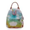Cartoon Unicorn Shape Colorblock Cloud Print Mini School Bag Backpack for Girls 20*17*9 CM