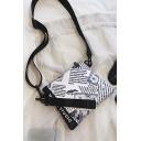 Street Style Trendy Newspaper Pattern White Crossbody Messenger Bag 21*3*17 CM