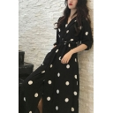 Summer Girls Vintage Black Polka Dot Printed V-Neck Half Sleeve Maxi A-Line Wrap Dress