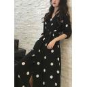 Summer Girls Vintage Black Polka Dot Printed V-Neck Half Sleeve Maxi A-Line Wrap Dress