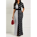 New Stylish Two-Tone Colorblocked Polka Dot Pattern Short Sleeve V-Neck Maxi Sheath Dress