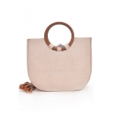 Chic Plain Ring Handle Woven Handbag Beach Bag Tote 31*10*24.5 CM