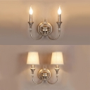 Antique Style Candle Sconce Lamp with/without Shade Metal 2 Lights Silver Wall Light for Restaurant
