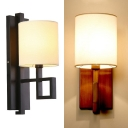 Fabric Cylinder Shade Wall Lamp 1 Light Vintage Style Sconce Light in Black/Bronze for Hallway