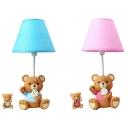 Blue/Pink Toy Bear Desk Light 1 Light Lovely Resin Dimmable Eye-Caring Plug In Desk Lamp for Baby Room