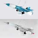 Cartoon Fighter Aircraft Chandelier Modern Metal Pendant Light in Blue/Silver for Nursery