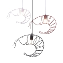 Industrial Black/Red/White Pendant Light Shrimp 1 Light Metal Suspension Light for Restaurant