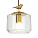 Clear Glass Jar Pendant Lamp with Bird Decoration 1 Light Rustic Ceiling Light in Brass for Balcony