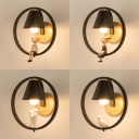 1 Light Ring Wall Light with Bird/Boy/Embracing/Girl Contemporary Metal Sconce Light in Black for Bedroom