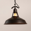 Metal Barn Shade Pendant Light Balcony Kitchen 1 Light Industrial Hanging Lamp in Rust