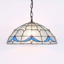 Dome Shade Foyer Suspension Light Frosted Glass 1 Light Tiffany Style Hanging Light with Jewelry