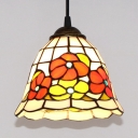 1 Light Floral Theme Pendant Lamp Rustic Style Stained Glass Hanging Light for Living Room