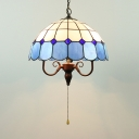 Glass Umbrella Shade Suspension Light with Pull Chain Vintage Hanging Light in Blue for Hotel