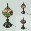 Vintage Plug-In Melon Table Lamp Metal Glass 1 Light Multi-Color Desk Light for Restaurant Bar