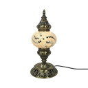 Moroccan Antique Plug-In Desk Light Melon Shade 1 Light Glass Metal Table Lamp for Hotel