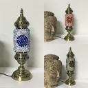 Restaurant Cylinder Table Light Glass One Light Turkish Style Blue/Green/Orange Table Light