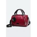 Women's Fashion Solid Color Floral Embellishment Zipper Satchel Tote Handbag 25*13*16 CM