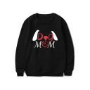 Unique Stylish Cartoon Letter DOG MOM Print Round Neck Long Sleeve Pullover Sweatshirt