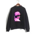 Vaporwave Funny Figure Letter I NEED YOU Pattern Basic Mock Neck Long Sleeve Casual Loose Sweatshirt