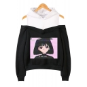 Womens Fashion Vaporwave Cute Comic Girl Print Cold Shoulder Long Sleeve Casual Loose Hoodie