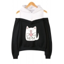 Lovely Cartoon Cat Letter DOG MOM Sweet Cold Shoulder Loose Fit Hoodie