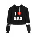 Father's Day Popular Heart Letter I LOVE DAD Print Stripe Long Sleeve Cropped Hoodie