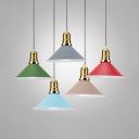 Macaron Colored Conical Pendant Lamp 1 Light Nordic Style Metal Hanging Light for Dining Room