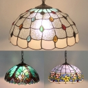 Stained Glass Umbrella Pendant Light 1 Light Tiffany 3 Designs Optional Hanging Light for Villa