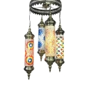 Moroccan Mosaic Flute Chandelier 4 Lights Wrought Iron Suspension Light for Restaurant KTV