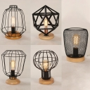 Metal Wire Frame Desk Light 5 Designs Optional 1 Light Antique Reading Light in Black for Bedroom