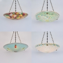Mosaic Multi-Color Inverted Chandelier Domed Shade 5 Lights 19.5 Inch Glass Pendant Light for Dining Room