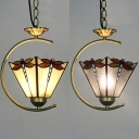 Dragonfly Pattern Hanging Light 1 Light Tiffany Antique Beige/Clear Glass Pendant Light for Stair