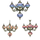 6 Lights Oval Chandelier Moroccan Antique Glass Suspension Light in Blue/Orange/Red for Villa