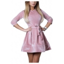 Womens Fashion Plain Basic Round Neck Three-Quarter Sleeve Tied Waist Mini A-Line Velvet Dress