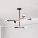 Living Room Candle Suspension Light with Orb Shade Amber/Clear/Smoke Glass 6/8/10 Lights Black Chandelier