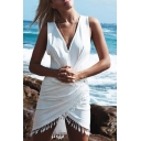 Summer Womens Fashion Simple Plain V-Neck Sleeveless Tassel Hem Mini Sheath Dress