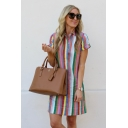Summer Chic Colorful Striped Pattern Lapel Collar Short Sleeve Button Down Mini Cotton Shirt Dress