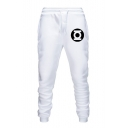 Mens Popular Simple Logo Pattern Drawstring Waist Slim Fit Sport Pants Joggers