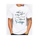 Summer Trendy Fish Pattern Round Neck Short Sleeve White Tee
