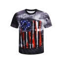 Mens Summer Cool Unique Star Striped Flag Pattern Round Neck Short Sleeve Regular Fit Grey T-Shirt
