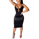 Chic Black Lace and Mesh Patched Womens Sexy Midi Black Bodycon Slip Dress