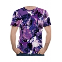Summer Chic Purple Floral Pattern Round Neck Short Sleeve Slim Fit T-Shirt