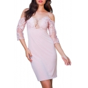 Sexy Hollow Out Front Chic Lace Panel Sleeve Cold Shoulder Split Back Mini Sheath Dress