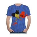Summer Funny Cute Cartoon Frog Pattern Round Neck Short Sleeve Blue T-Shirt