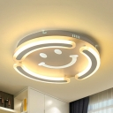 White Smiling Face Flush Mount Light Cute Acrylic Stepless Dimming/Warm/White Ceiling Lamp for Bedroom