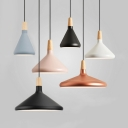 Metal Conical Pendant Lamp Restaurant One Light Contemporary Hanging Light in Black/Gray/Pink/White