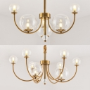 Candle Living Room Suspension Light with Orb Shade Metal 6/9 Lights Colonial Style Chandelier in Brass