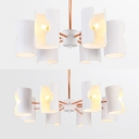 White Half-Cylinder Chandelier 6/8 Lights Simple Style Metal Suspension Light for Dining Room