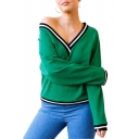 Trendy Contrast Stripe Hem V-Neck Long Sleeve Green Relaxed Pullover Sweatshirt