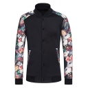 Mens Black Chic Floral Pattern Long Sleeve Stand Collar Button Closure Cotton Slim Fit Baseball Jacket